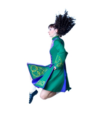 Dancing irish dance on the white background photo