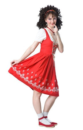 coquettish: Coquettish beautiful woman in the red dress and white socks