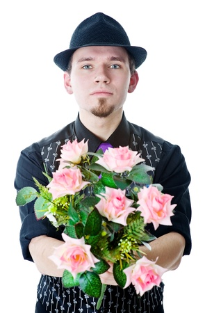 Man in black hat with flowers Stock Photo - 12810228