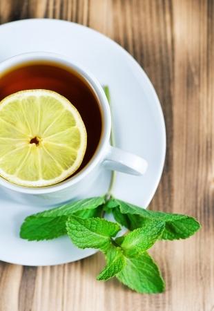 Tea with mint and lemon  photo