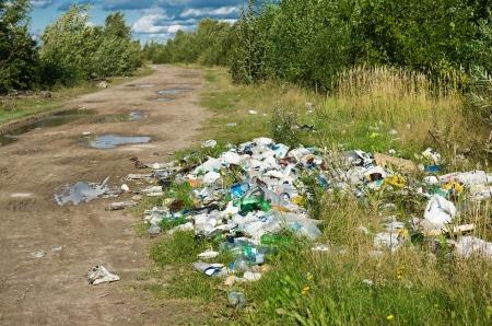 arbol de problemas: Vaciado de basura de la naturaleza problema ambiental Foto de archivo