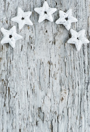 Christmas decorations on the old wood background