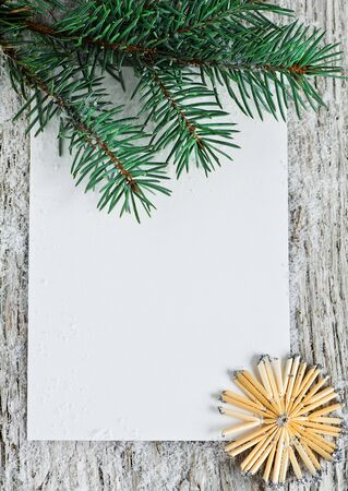Christmas card with firtree branch Stock Photo - 15844247