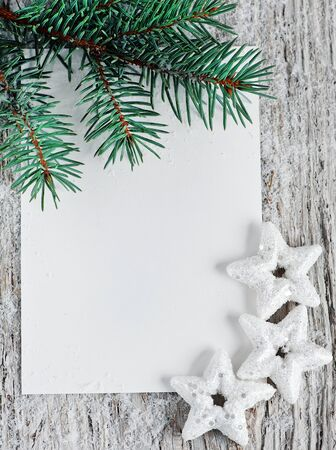 Christmas card with firtree branch  photo