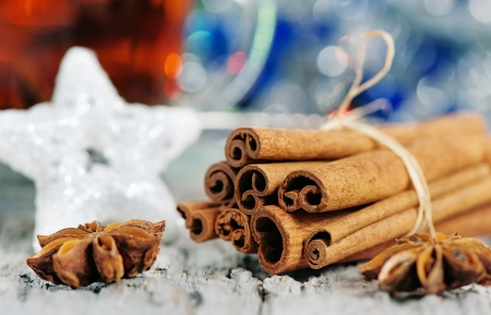 Stars of  anise and cinnamon at christmas time and cup of tea Stock Photo - 16306975