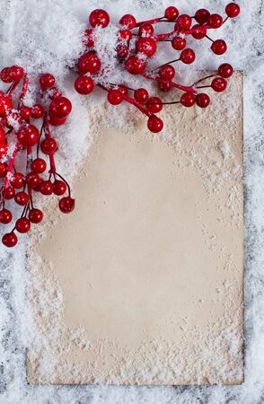 Christmas congratulation card with snow on the old wood background Stock Photo - 16646994