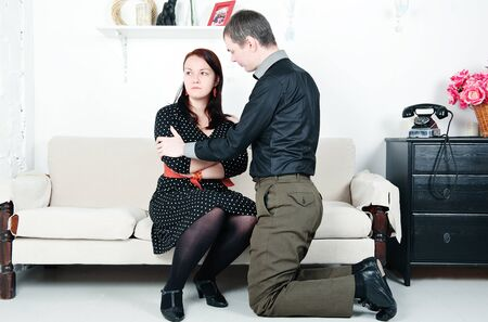 Family conflict between man and woman: offense  Stock Photo - 16882022
