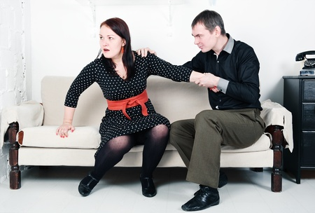 Family conflict between man and woman: domestic violence Stock Photo - 16890872