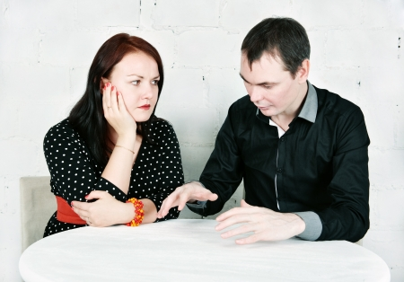Man talking with brunette woman Stock Photo - 17576713
