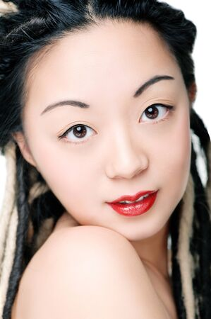 Beautiful asian woman with dreadlocks  photo