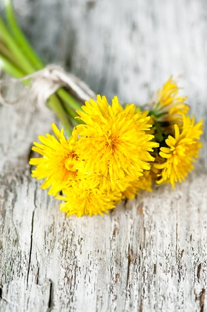 Bouquet of  dandelion flowers on the wooden background Stock Photo - 19569669
