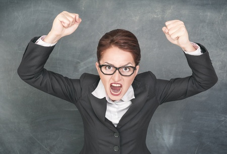 Angry screaming woman in glasses Stock Photo - 21305140