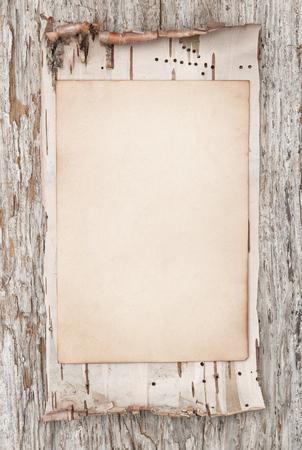 Aged papier en berkenbast op de oude houten achtergrond Stockfoto