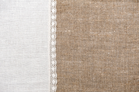 Burlap background and linen cloth with lace