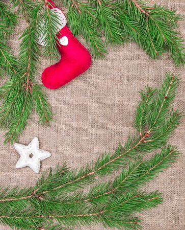 hessian boots: Christmas decoration with fir branches and red sock on burlap background