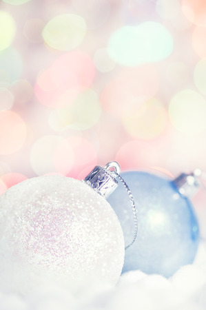 Christmas balls on abstract bokeh background  photo