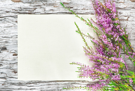 Old rough wooden background with paper and heather  Standard-Bild