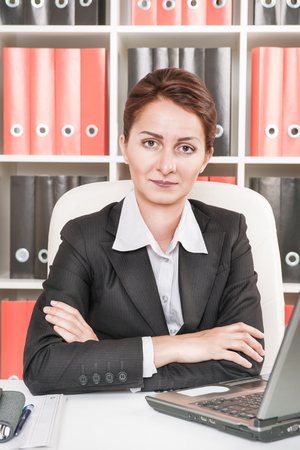 executive affable: Middle age business woman work at office