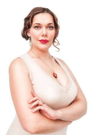 Portrait of beautiful plus size woman posing on white background photo