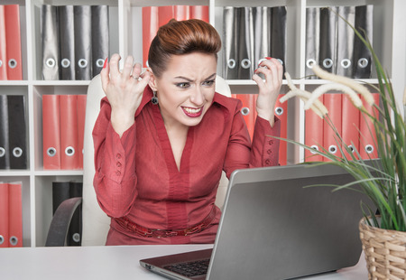 Angry screaming business woman working with computer Stock Photo - 25677613