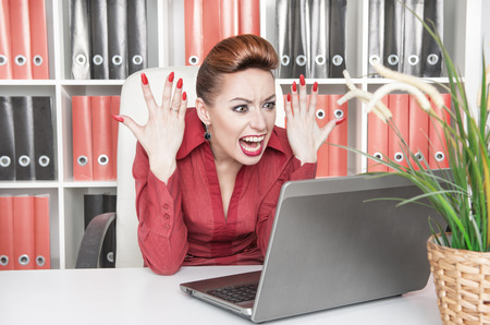 Angry screaming business woman working with computer Stock Photo - 25677615