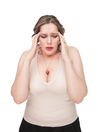 obese woman: Plus size woman with headache on white background