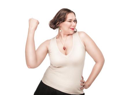 Beautiful plus size woman celebrating success on white background