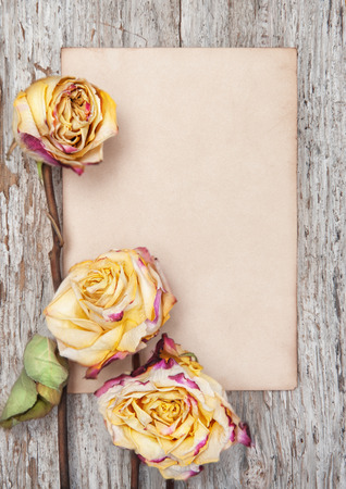 Dry roses and paper on the old wooden background Stock Photo - 27365196