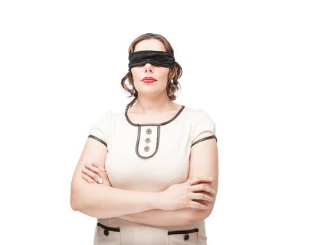 Blindfold beautiful brunette plus size woman isolated photo