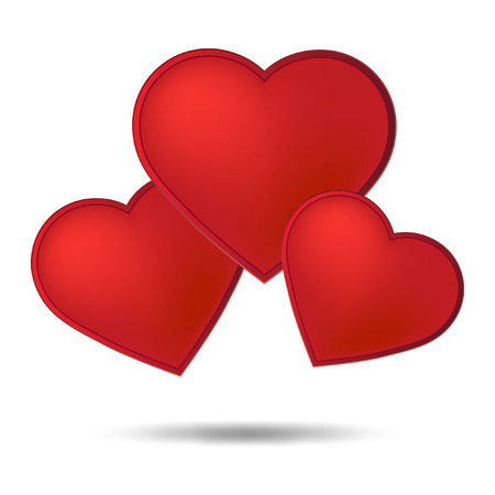 Three red hearts on the white background  Vector