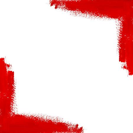 빨간 벡터 구 아슈 브러시 텍스트에 대 한 공간을 가진 코너 스트로크