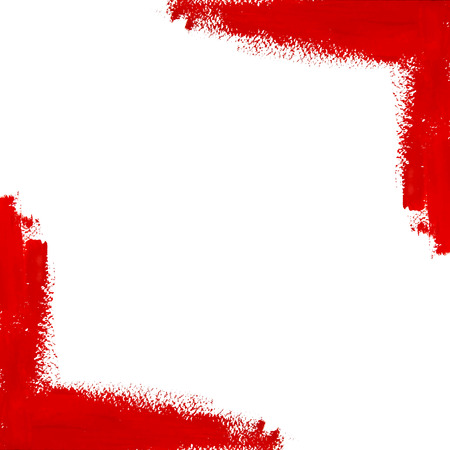 Red vector gouache brush strokes corner with space for text Illustration