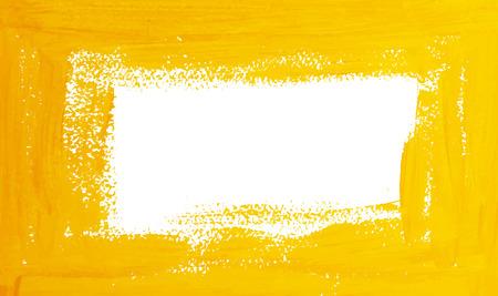 Yellow vector gouache brush strokes border with space for text Vector