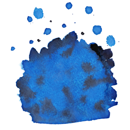 dabs: Abstract blue watercolor background with brush stroke and place for text
