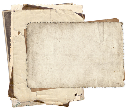 antique paper: Bunch of old photos with stains and scratches background isolated