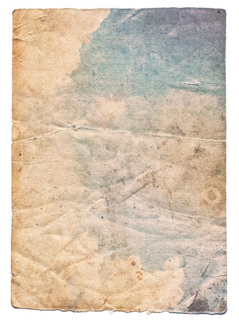vintage torn paper: Colorful old photo texture with stains and scratches isolated