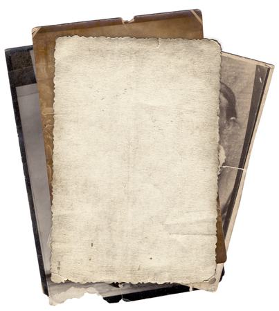 torn paper background: Bunch of old photos with stains and scratches background isolated