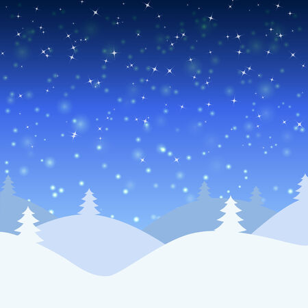 snowscape: Vector illustration of winter landscape with  snowfall and mountains