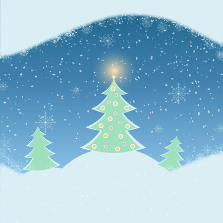 snowscape: Vector illustration of winter landscape with fir-tree, snowfall and mountains