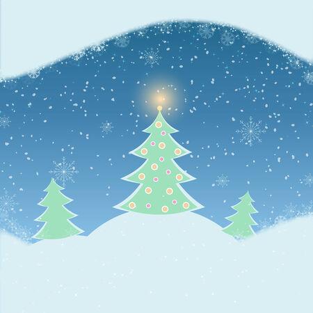 schneelandschaft: Vektor-Illustration von Winterlandschaft mit Tannenbaum, Schneefall und Berge