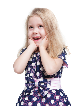 Beautiful little girl with blond hair surprised isolated over white background Zdjęcie Seryjne