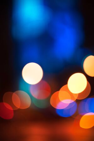 cool colors: Red and blue bokeh colorful abstract background with defocused lights