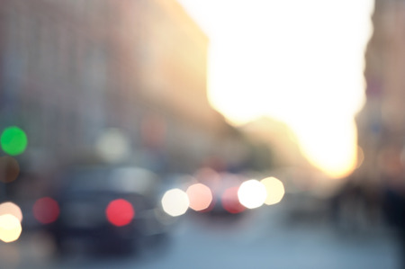 Blurred abstract urban background with defocused lights outdoor photo