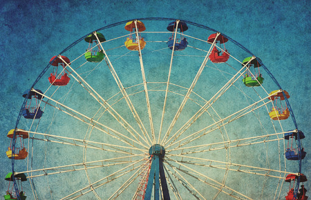 retro circles: Vintage grunge background with colorful ferris wheel Stock Photo