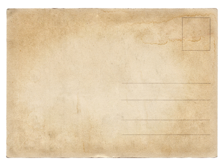Blank old vintage postcard isolated on white background photo