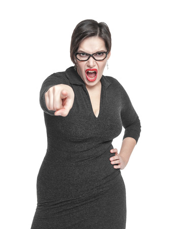 Angry teacher woman pointing out isolated over white
