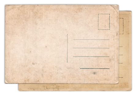 postage stamp frame: Two blank old vintage postcard isolated on white background