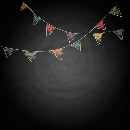 Chalkboard background with drawing bunting flags. Vector texture