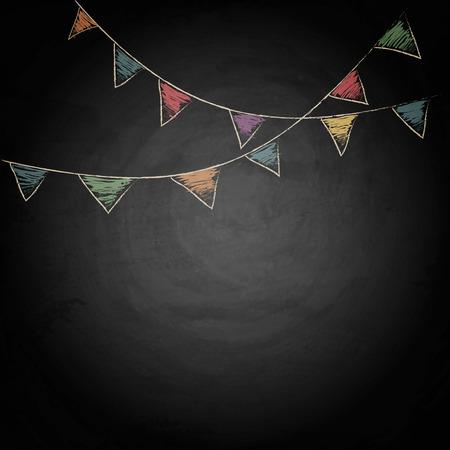 Schreibtafel-Hintergrund mit Zeichnung Bunting flags. Vektorbeschaffenheit Standard-Bild - 42565520