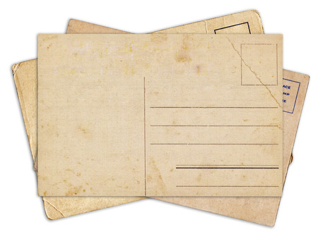 vintage postcard: Stack of blank old vintage postcard isolated on white background